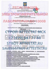 регистрация электролаборатории до 1000в в Московской области, москве, образец